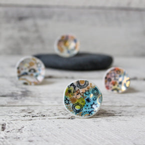 Large porcelain rings with hand painted detail handmade by Katherine Wheeler