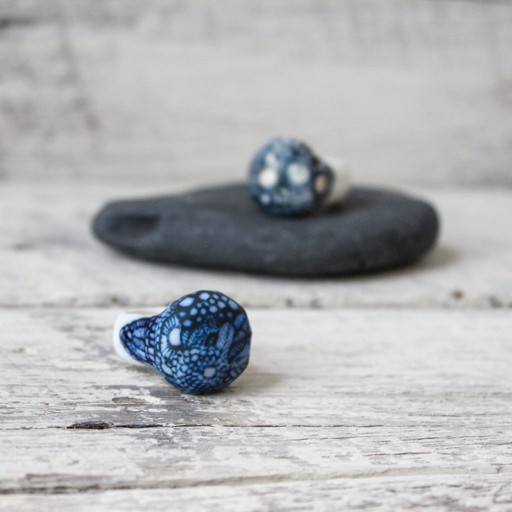 Porcelain Indigo Ball Rings