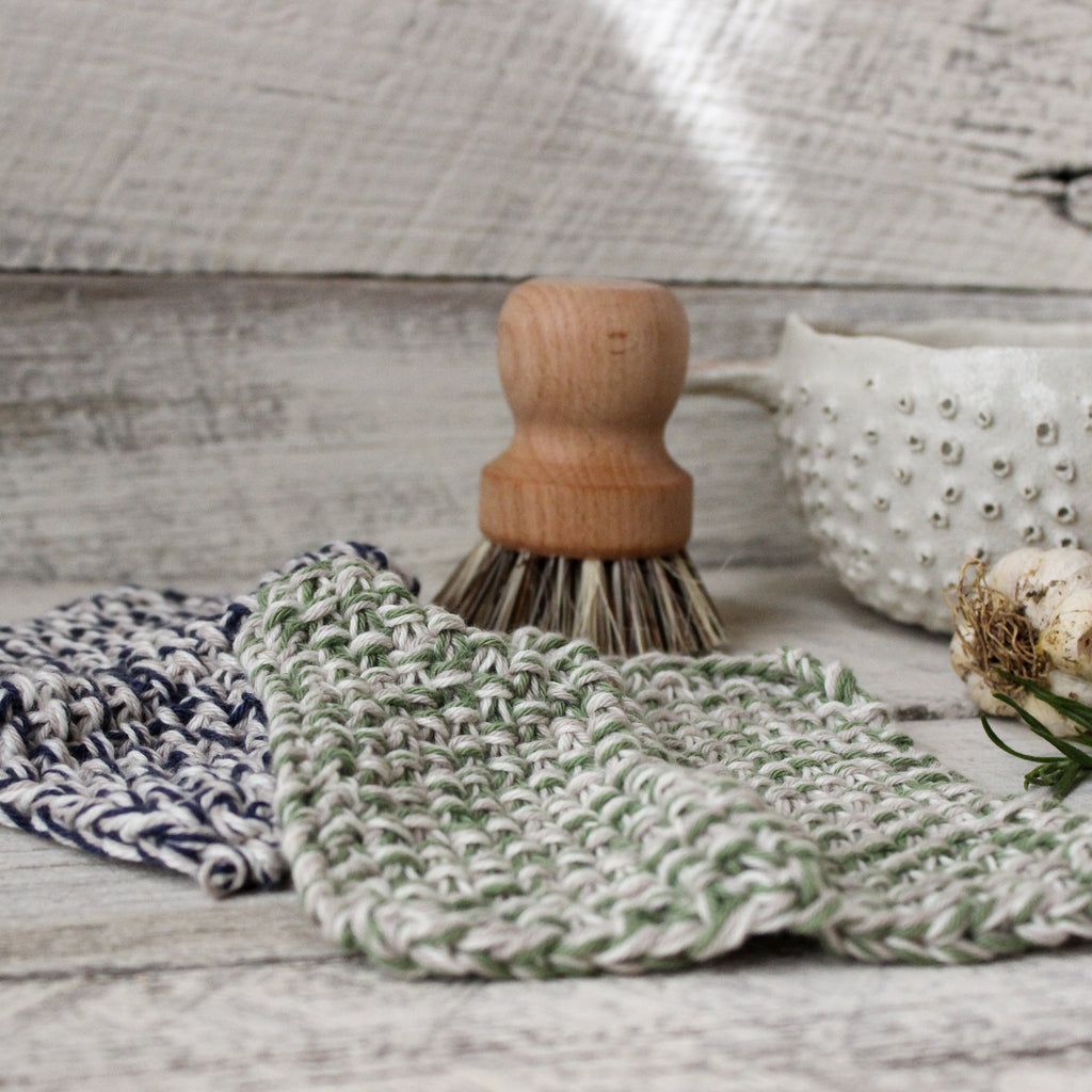 Natural cotton dish cloths handmade by Amy Jade Creations