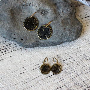 Brass Oxidised Sleeper Earrings