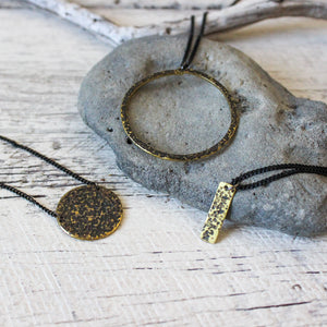 Brass Textured Oxidised Necklaces : 3 styles