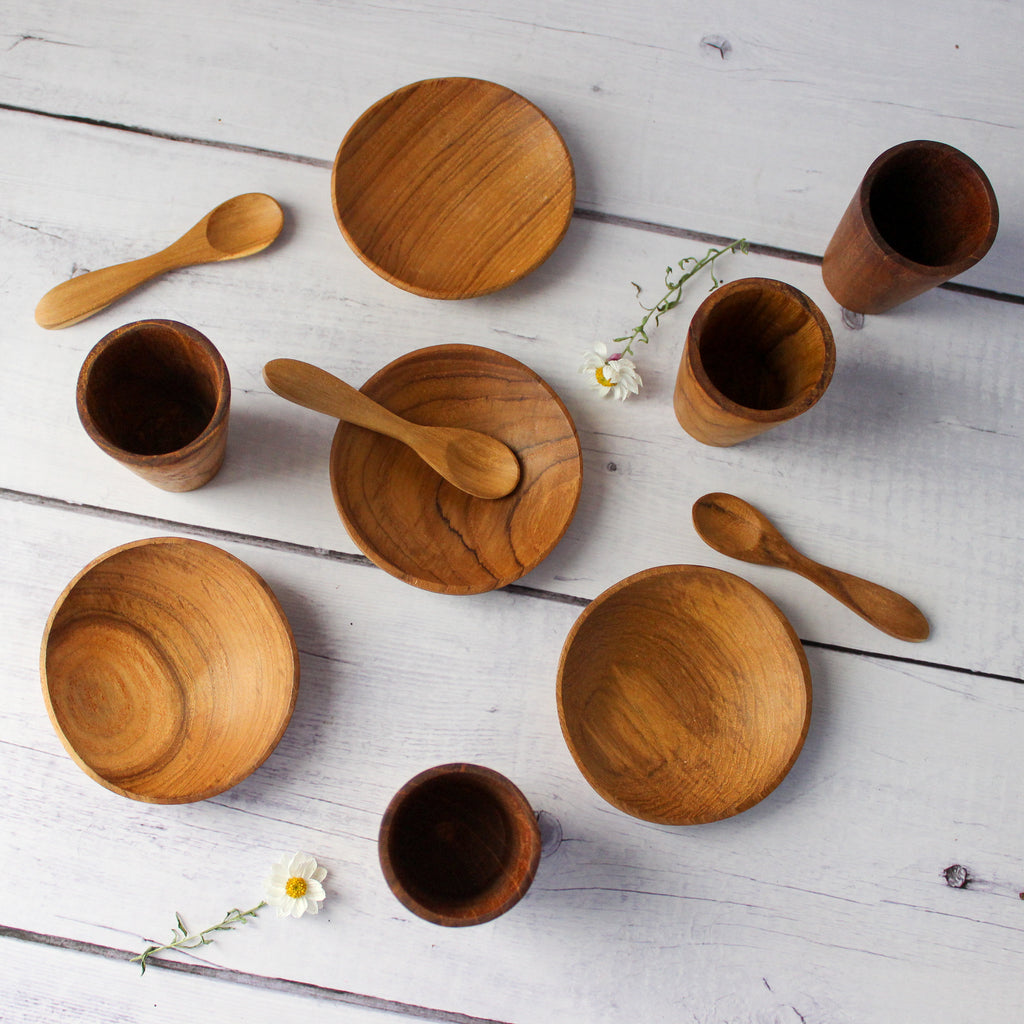 Little Wood Cups, Dishes & Spoons
