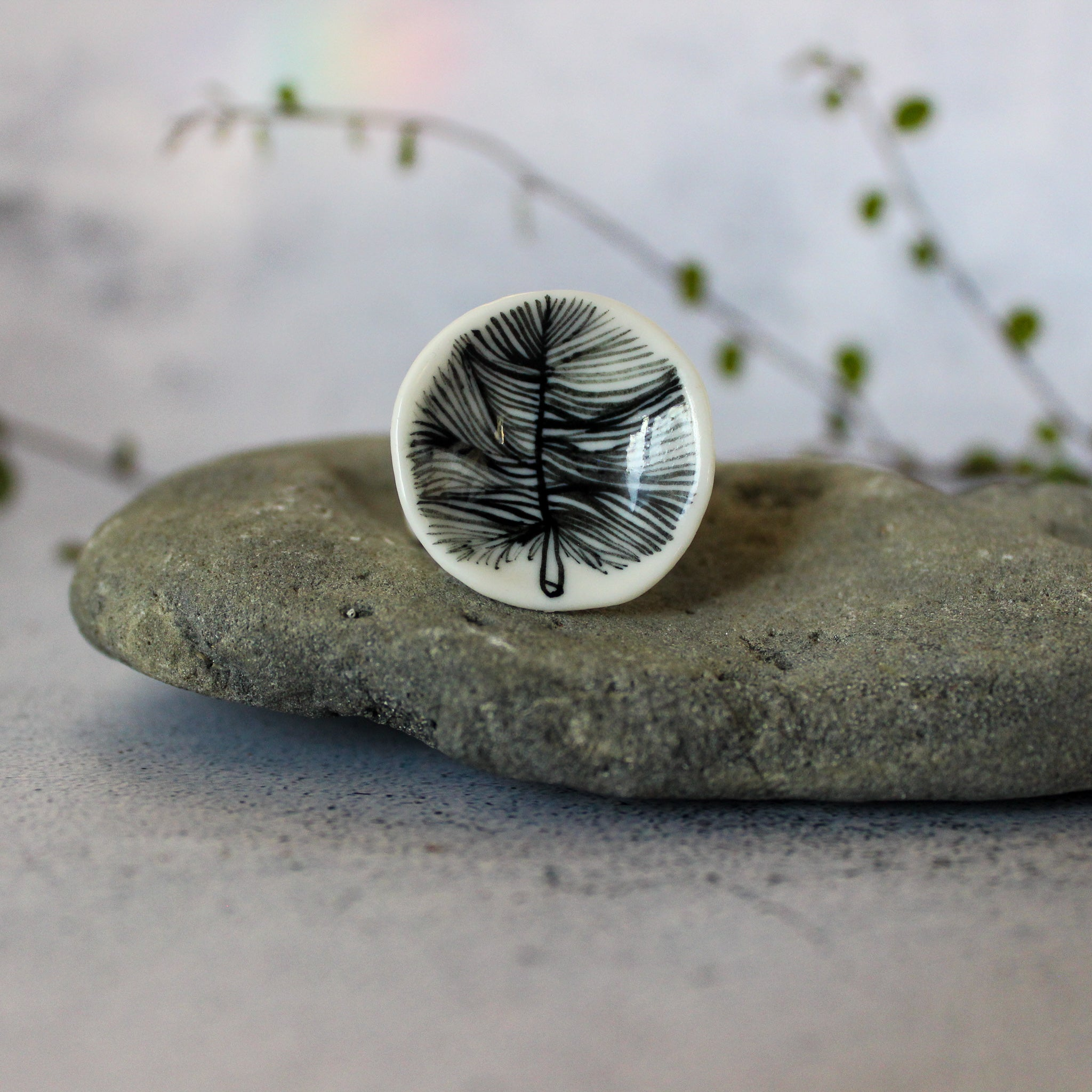Large Porcelain Rings : Feather