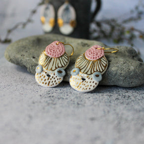 Ceramic Earrings Coloured Layers Collection #2