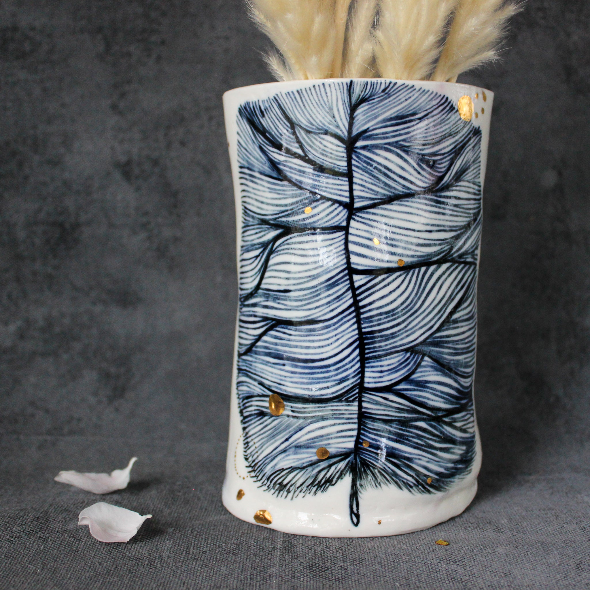Large Indigo Feather Porcelain Vase
