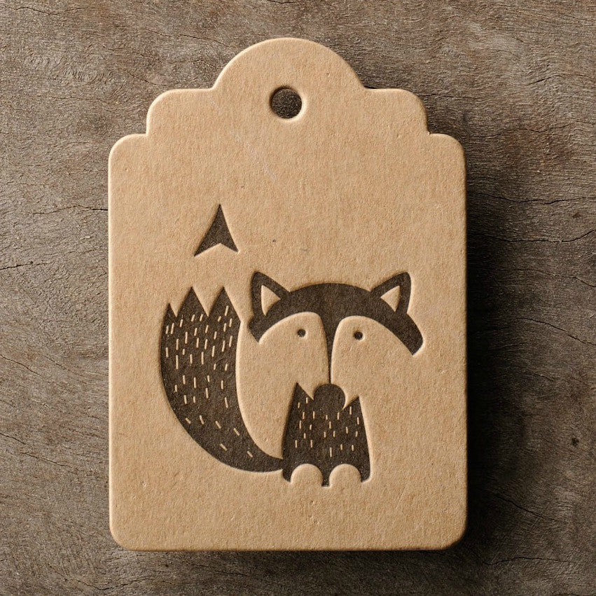 Letterpress Gift Tag: Fox