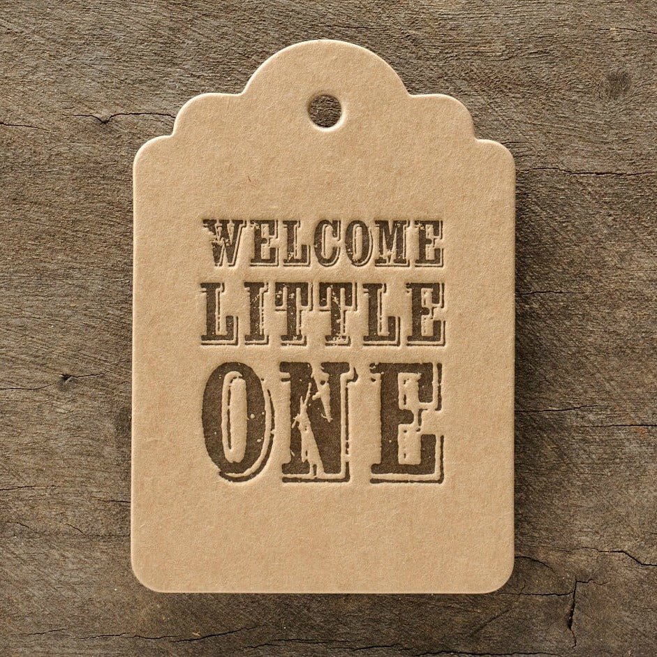 Letterpress Gift Tag: Welcome Little One