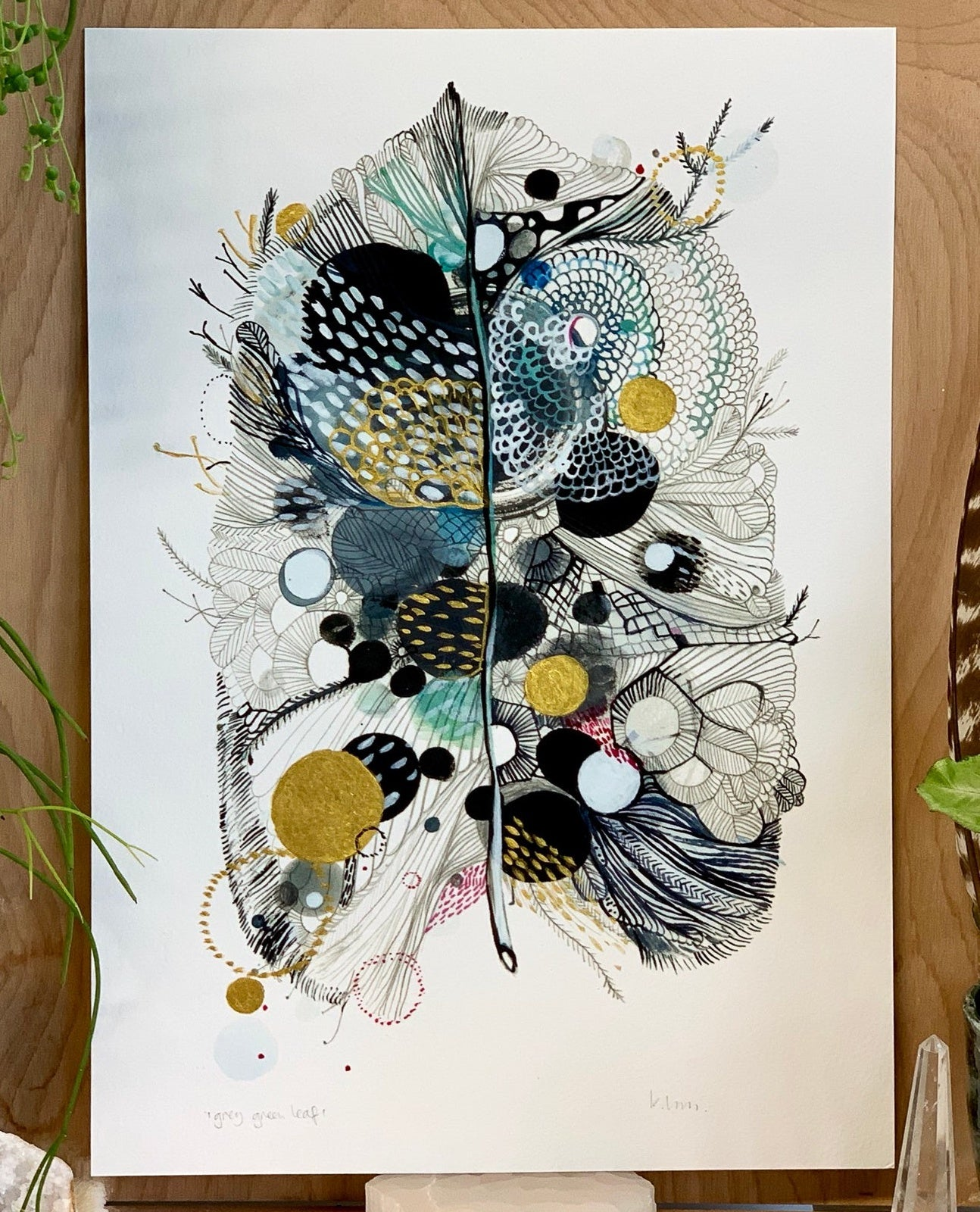 Grey Feather with handpainted gold detail Print by Katherine Wheeler