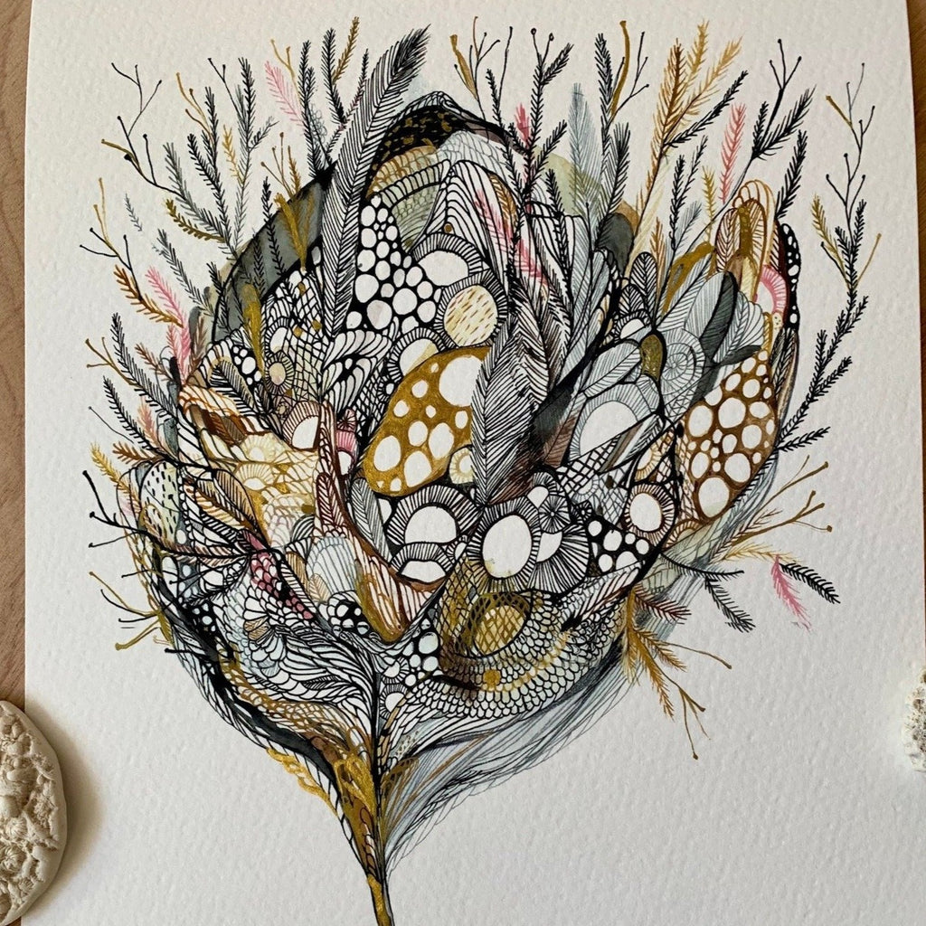 Bloom with handpainted gold detail print by Katherine Wheeler