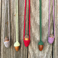 Cute little handmade acorn necklaces from Amy Jade Creations at Tribe Castlemaine