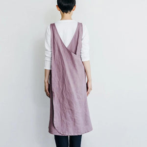 Fog Linen linen apron dress in pink at Tribe Castlemaine