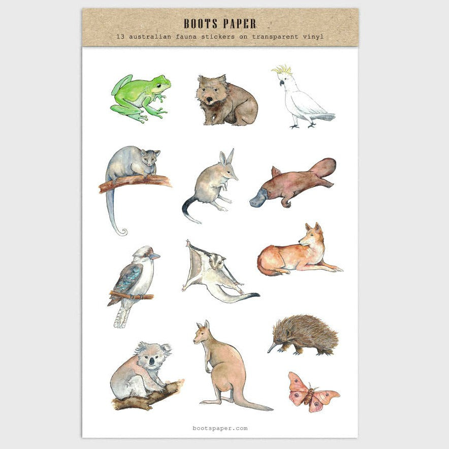 Beautiful hand-drawn illustrations of Australian animals in this sheet of transparent stickers made by Boots Paper available at Tribe Castlemaine