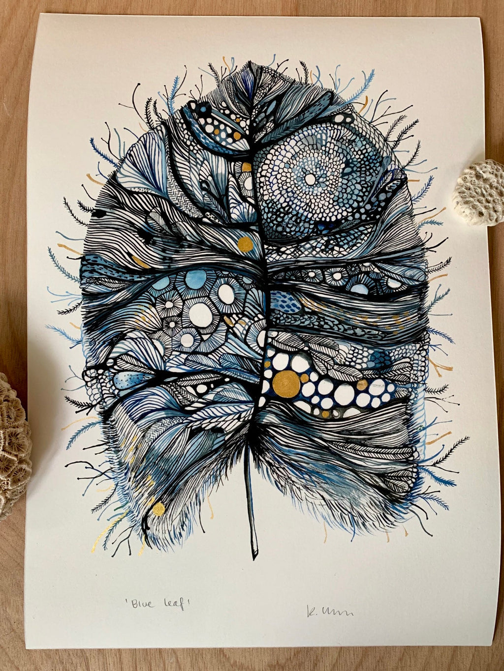 'Blue Leaf' with Hand-painted Gold Detail Print by Katherine Wheeler