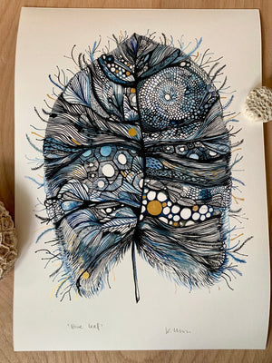 Blue Leaf with Hand-painted Gold Detail Print by Katherine Wheeler