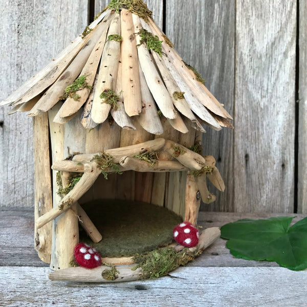 Beautiful woodland fairy house handmade from wood with felted toadstools perfect for fairy gardens at Tribe Castlemaine