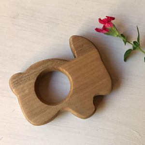 Handcrafted wooden baby teether toy, baby gift, handmade in Australia by Miss Molly's Toys available at Tribe Castlemaine