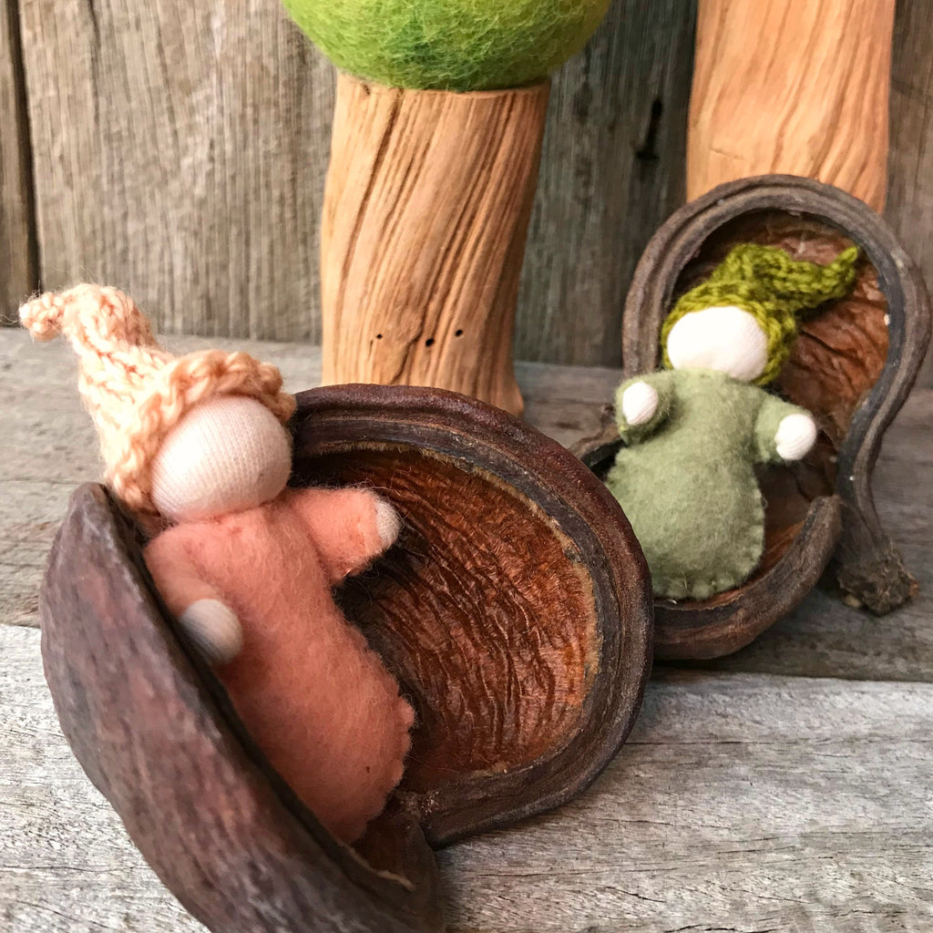 Adorable little felt babies handmade Steiner toys Waldorf toys nature play made in Australia by Elfin Trail available at Tribe Castlemaine