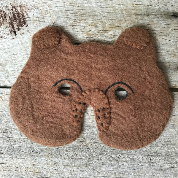 Handmade wool felt animal masks, mouse, bear, lion and fox, for imaginative play from Tribe Castlemaine