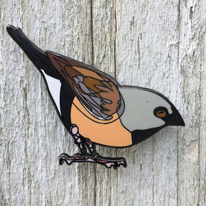 Black Throated Finch lapel pin by Bridget Farmer at Tribe Castlemaine