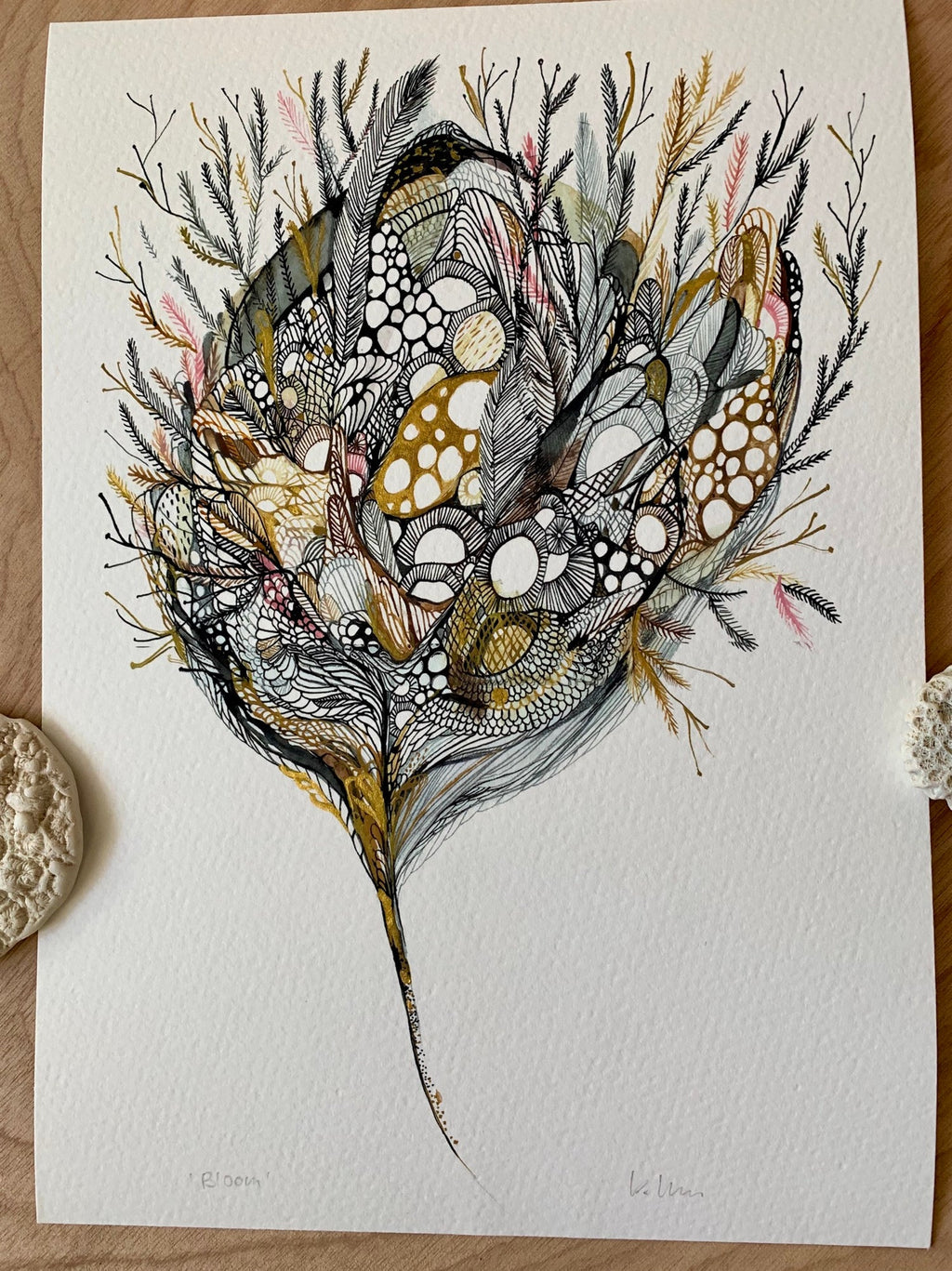 'Bloom' with handpainted gold detail print by Katherine Wheeler