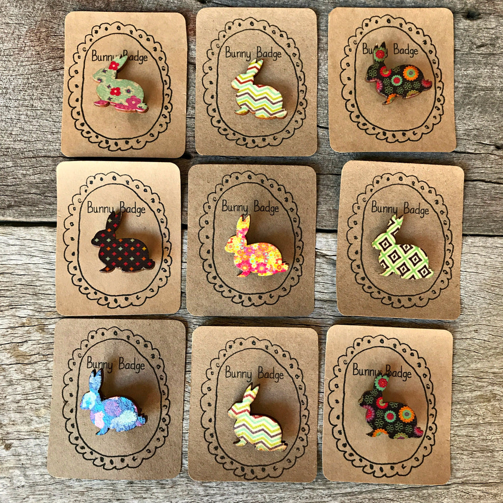 Cute little handmade wooden bunny badges from Tribe Castlemaine