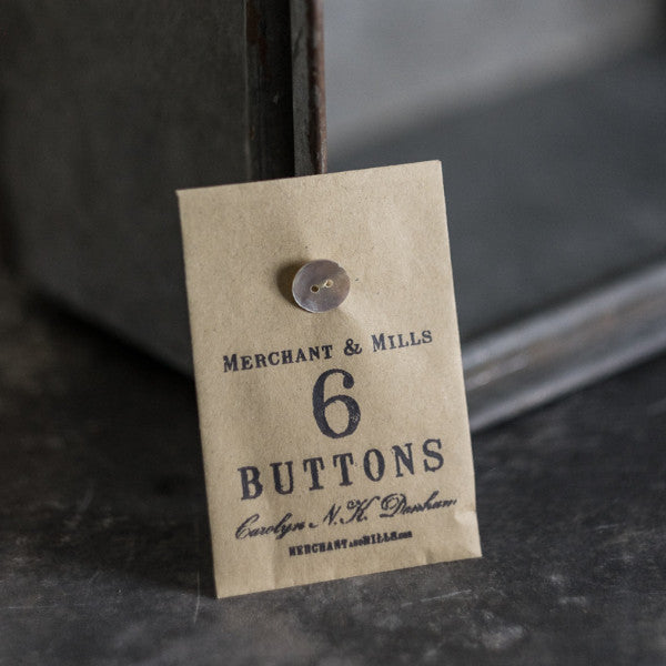 Six mother-of-pearl buttons from Merchant & Mills at Tribe Castlemaine.