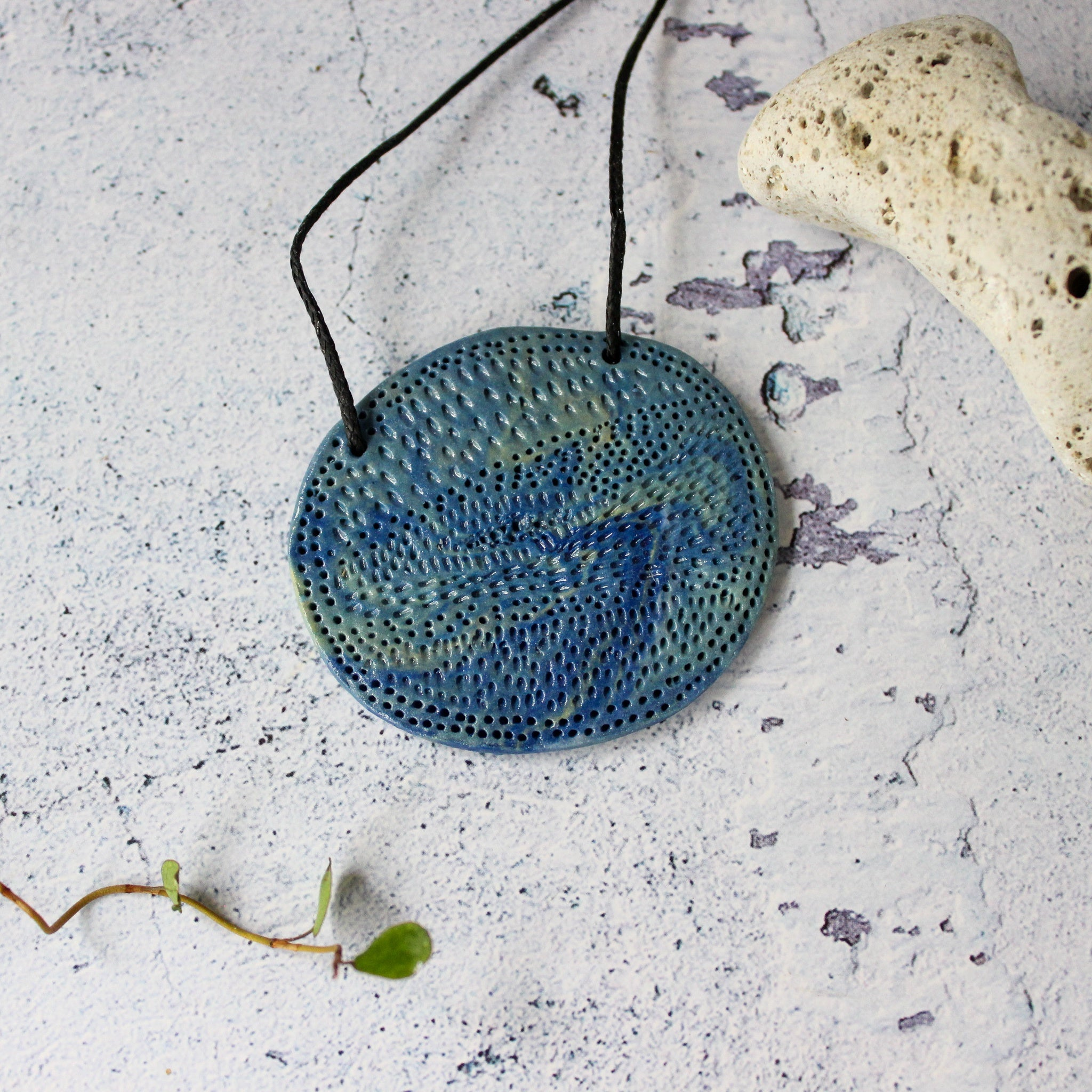Ceramic Necklace Blue Oval