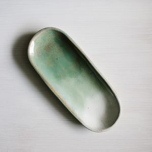 Stoneware canoe platter in eucalytpus handmade by Woodfolk Natural Accessories