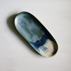 Stoneware canoe platter in blue handmade by Woodfolk Natural Accessories