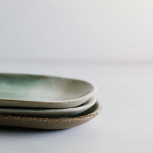 Stoneware canoe platters handmade by Woodfolk Natural Accessories