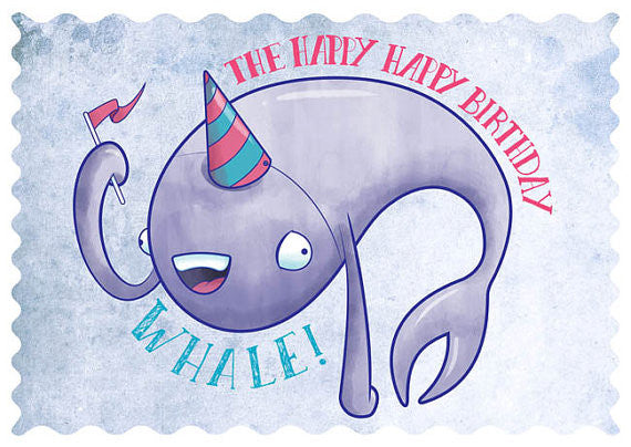 Birthday Whale Greeting Card