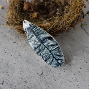 Porcelain Brooch Long Feather