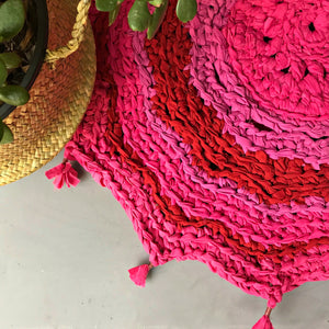 Cotton rag rug upcycled handmade in Australia bright pink magenta tones available at Tribe Castlemaine
