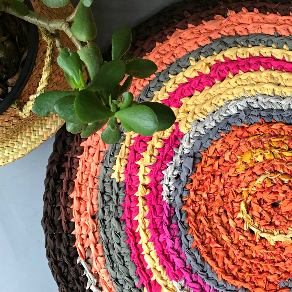 Cotton rag rug upcycled handmade in Australia round rug colourful tones available at Tribe Castlemaine
