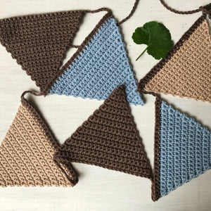 Sweet hand crocheted flag bunting available at Tribe Castlemaine