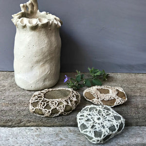 Crocheted river stones handmade in Australia by Amy Jade Creations available at Tribe Castlemaine