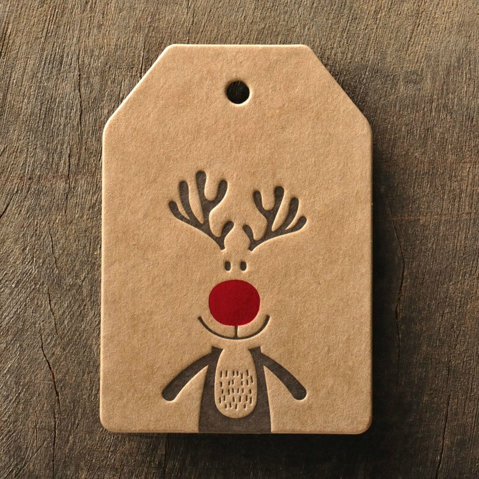 Letterpress Rudolph Gift Tag