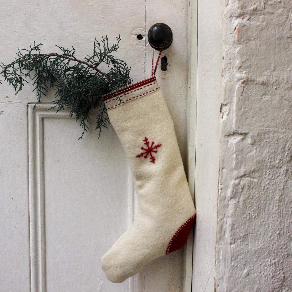 Handmade Christmas Stocking : White