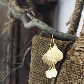Raw brass dew drop earrings handmade by Paird
