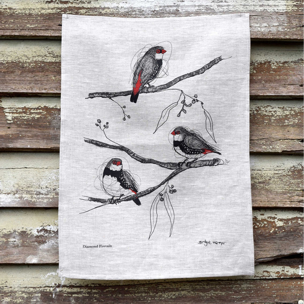 Bridget Farmer linen tea towel Diamond Firetails