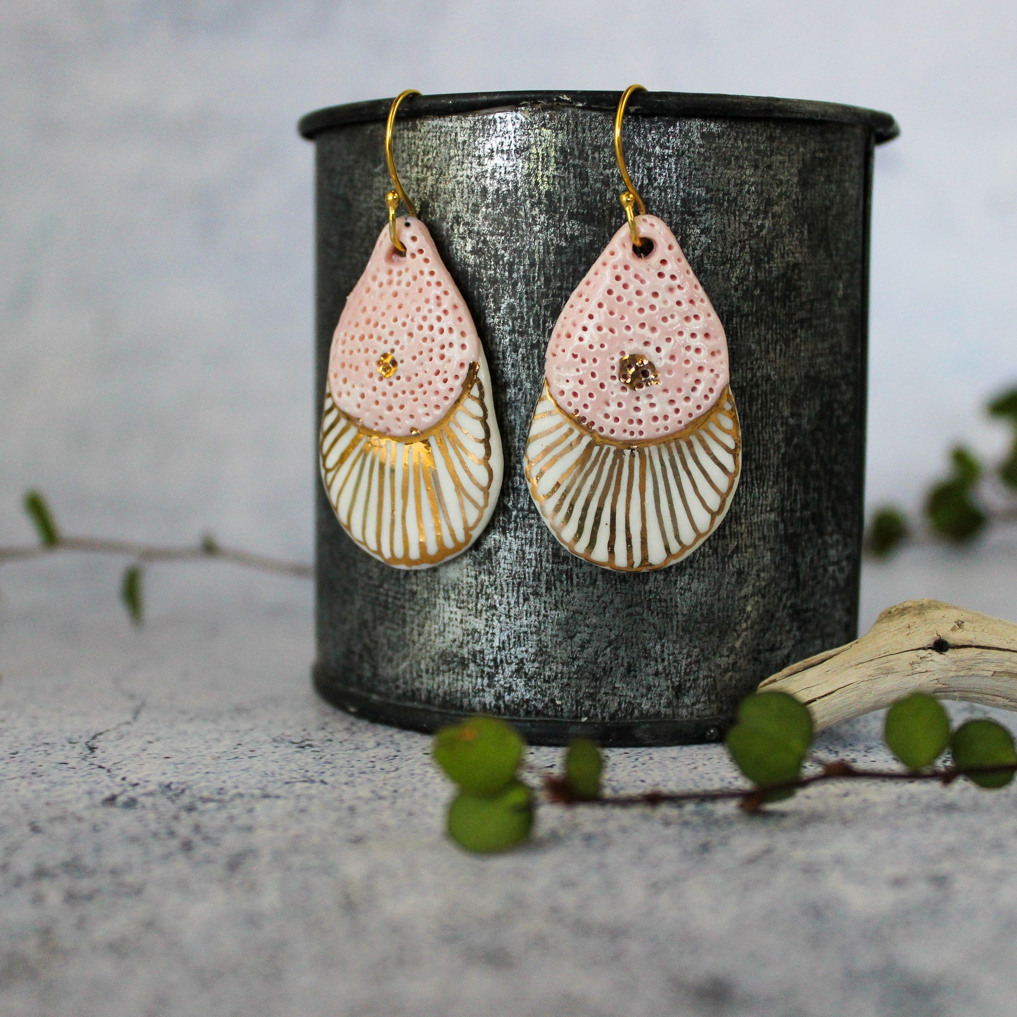 Ceramic Earrings Pink Gold