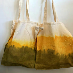 Eco-tote, calico tote bag, naturally dyed by hand by Elfin Trail available at Tribe Castlemaine