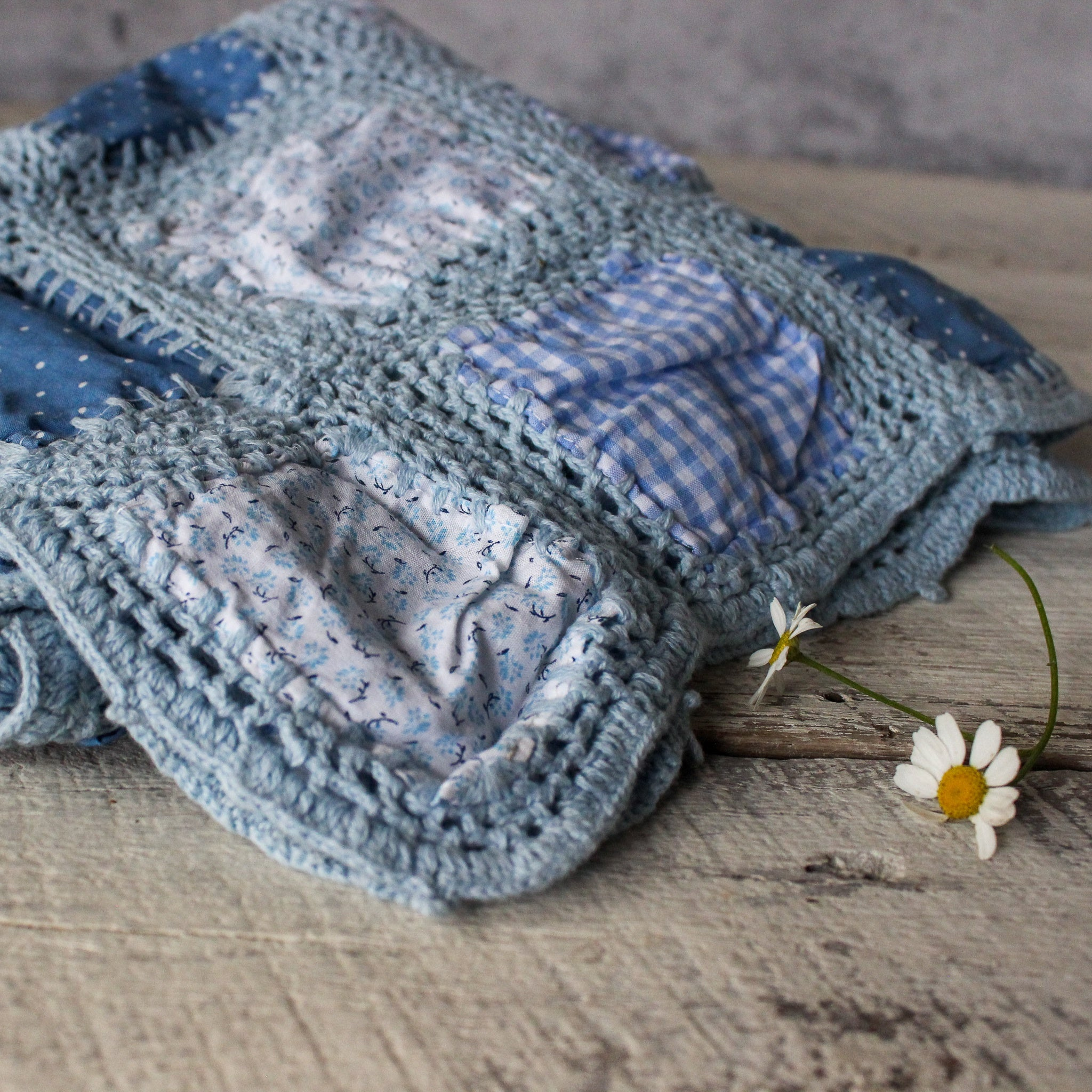 Blue Patchwork Crochet Blanket