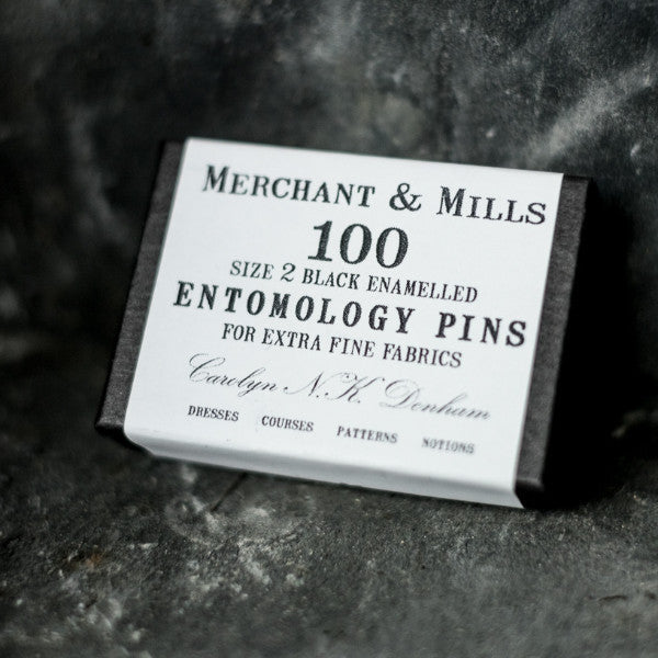 The finest black entomology pins known to man, from Merchant & Mills at Tribe Castlemaine.