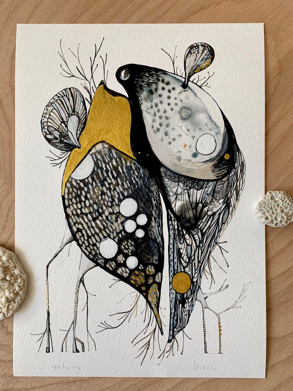 Entwined with hand painted gold detail A4 Print by Katherine Wheeler