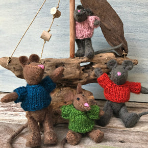 Super cute handmade felt mice with knitted jumpers, Steiner Waldorf inspired imaginative play at Tribe Castlemaine