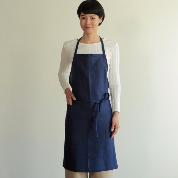 Functional yet beautiful, Fog Linen classic full bib-style apron with front pocket in 100% linen at Tribe Castlemaine.