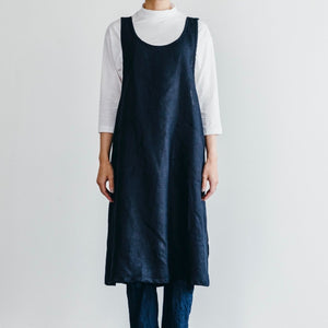 Linen Apron Dress Ink Navy