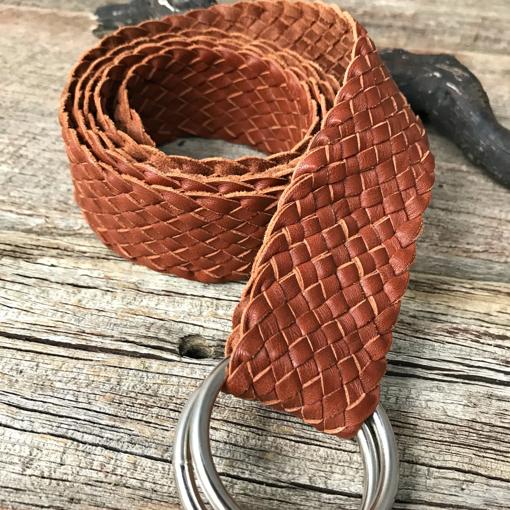 Hand-plaited, classic-style leather belt made from sustainable Australian kangaroo hide available at Tribe Castlemaine