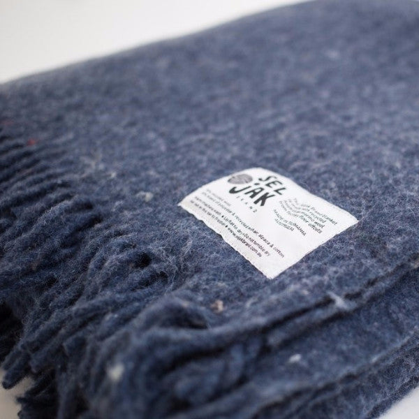 Luxurious, durable recycled wool blanket, in indigo blue, made at Australia's oldest woollen mill by Seljak Brand at Tribe Castlemaine.